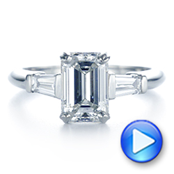 Platinum Three Stone Tapered Baguette Diamond Engagement Ring - Video -  105742 - Thumbnail