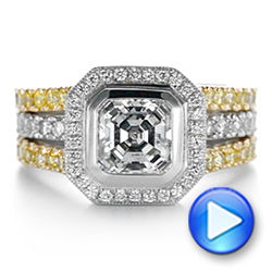 14K Gold And 14k Yellow Gold 14K Gold And 14k Yellow Gold Custom Yellow And White Diamond Two Tone Engagement Ring - Video -  105743 - Thumbnail