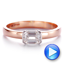 14k Rose Gold And Platinum Two-tone Semi-bezel Solitaire Diamond Engagement - Video -  105745 - Thumbnail
