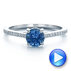 14k White Gold Blue Montana Sapphire And Diamond Engagement Ring - Video -  105750 - Thumbnail