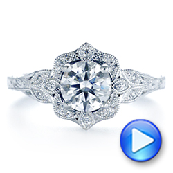 14k White Gold Vintage Floral Diamond Halo Engagement Ring - Video -  105767 - Thumbnail