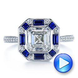 18k White Gold Blue Sapphire And Diamond Halo Engagement Ring - Video -  105773 - Thumbnail