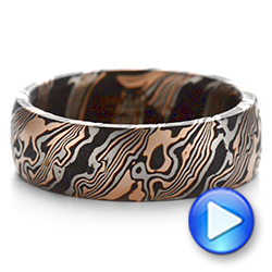 Mokume Gane Comfort Fit Wedding Band - Video -  105774 - Thumbnail