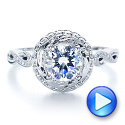 18k White Gold 18k White Gold Infinity Diamond Halo Engagement Ring - Video -  105796 - Thumbnail