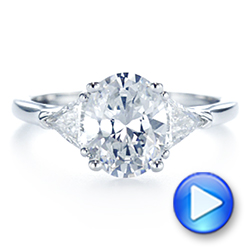 18k White Gold Three-stone Trillion And Oval Diamond Engagement Ring - Video -  105800 - Thumbnail