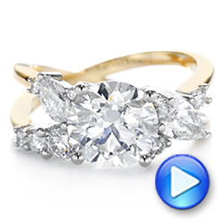 14k Yellow Gold And Platinum Custom Cluster Diamond Two-tone Engagement Ring - Video -  105803 - Thumbnail