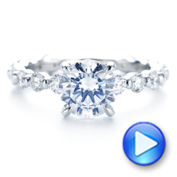 18k White Gold Claw Prong Classic Diamond Engagement Ring - Video -  105816 - Thumbnail