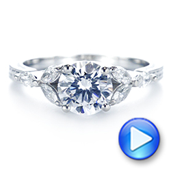 18k White Gold Custom Tri-leaf Marquise Diamond Engagement Ring - Video -  105826 - Thumbnail