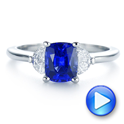 Platinum Three Stone Blue Sapphire And Half Moon Diamond Engagement Ring - Video -  105829 - Thumbnail