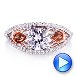14k Rose Gold And 14K Gold Calla Lilly Custom Diamond Engagement Ring - Video -  105831 - Thumbnail