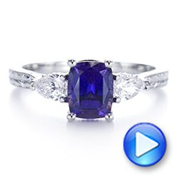 Platinum Three Stone Alexandrite And Pear Diamond Engagement Ring - Video -  105844 - Thumbnail