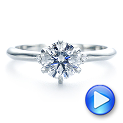 Platinum Claw Prong Cluster Diamond Engagement Ring - Video -  105854 - Thumbnail