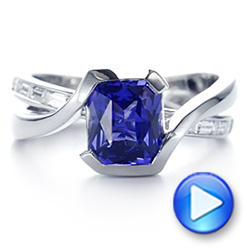 14K Gold Black Rhodium Sapphire And Baguette Diamond Engagement Ring - Video -  105856 - Thumbnail