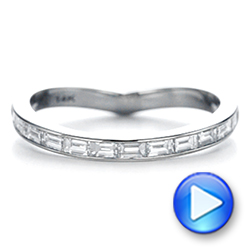 14K Gold Contoured Black Rhodium Diamond Wedding Band - Video -  105857 - Thumbnail