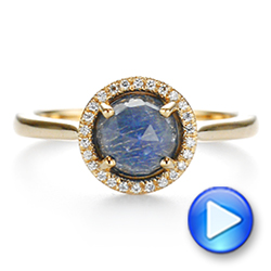 14k Yellow Gold Rose Cut Blue Sapphire And Diamond Halo Engagement Ring - Video -  105859 - Thumbnail