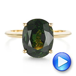 14k Yellow Gold Green Sapphire And Hidden Halo Diamond Engagement Ring - Video -  105861 - Thumbnail