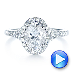 14k White Gold Custom Split Shank Diamond Halo Engagement Ring - Video -  105862 - Thumbnail