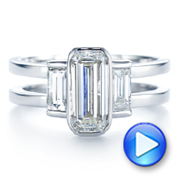 14k White Gold Three Stone Emerald Diamond Interlocking Engagement Ring - Video -  105864 - Thumbnail
