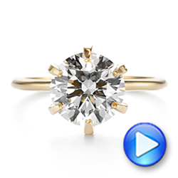 14k Yellow Gold Six Prong Solitaire Diamond Engagement Ring - Video -  105866 - Thumbnail