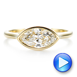 18k Yellow Gold Solitaire East-west Marquise Diamond Engagement Ring - Video -  105869 - Thumbnail