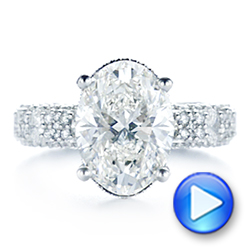 Platinum Oval Pave Diamond Engagement Ring - Video -  105870 - Thumbnail