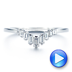 14k White Gold V-shaped Baguette Diamond Wedding Band - Video -  105988 - Thumbnail