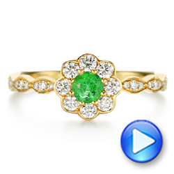 14k Yellow Gold Floral Emerald And Diamond Gemstone Ring - Video -  106008 - Thumbnail