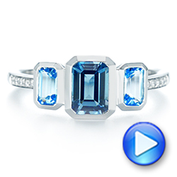 14k White Gold Emerald Cut Blue Topaz And Diamond Three-stone Ring - Video -  106024 - Thumbnail