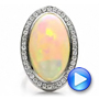 Platinum Custom Opal And Diamond Ring - Video -  100089 - Thumbnail