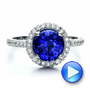 Custom Blue Sapphire and Pave Engagement Ring - Interactive Video - 100078 - Thumbnail