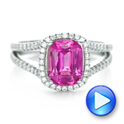 Custom Pink Sapphire and Diamond Halo Engagement Ring - Interactive Video - 1103 - Thumbnail