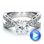18k White Gold Split Shank Diamond Engagement Ring - Vanna K - Video -  100110 - Thumbnail
