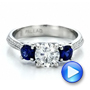 Custom Blue Sapphire and Diamond Engagement Ring - Interactive Video - 100116 - Thumbnail
