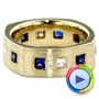 18k Yellow Gold Custom Diamond And Blue Sapphire Men's Band - Video -  1200 - Thumbnail
