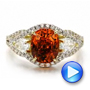 14k Yellow Gold And 14K Gold Custom Orange Sapphire Engagement Ring - Video -  100117 - Thumbnail