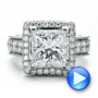 Custom Princess Cut and Halo Engagement Ring - Interactive Video - 100124 - Thumbnail