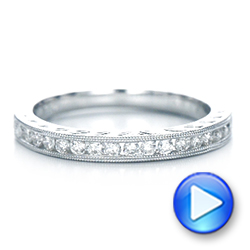 Engraved Wedding Band With Matching Engagement Ring - Kirk Kara - Video -  1271 - Thumbnail