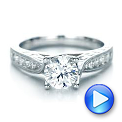 Diamond And Hand Engraved Engagement Ring With Matching Wedding Band - Kirk Kara - Video -  1274 - Thumbnail