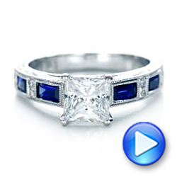 14K Blue Sapphire Engagement Ring - Kirk Kara - Interactive Video - 1276 - Thumbnail
