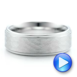 Men's Hammered Finish White Tungsten Band - Interactive Video - 1356 - Thumbnail