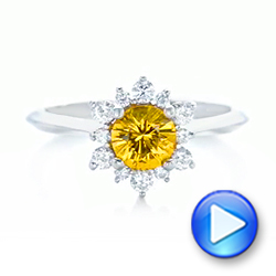 Diamond and Yellow Sapphire Engagement Ring - Interactive Video - 1403 - Thumbnail