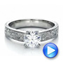 18k White Gold Custom Hand Engraved Solitaire Engagement Ring - Video -  1485 - Thumbnail