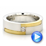 Platinum And 18k Yellow Gold Men's Two-tone And Diamond Wedding Band - Video -  100123 - Thumbnail