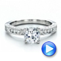 14k White Gold 14k White Gold Diamond Channel Set Engagement Ring With Matching Wedding Band - Kirk Kara - Video -  100119 - Thumbnail